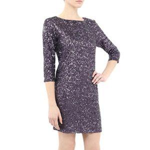 Nicole Miller Purple Swirl Sequin 3/4 Sleeve Dress
